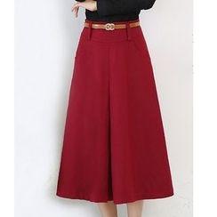 LITI - Pleated Woolen A Line Midi Skirt