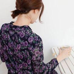 mimi&didi - Gathered-Waist Flower Pattern Long Dress