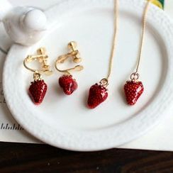 Cometto - Strawberry Earrings/ Clip-On Earrings/ Necklace