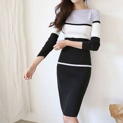Hello sweety - Boat-Neck Color-Block Knit Dress