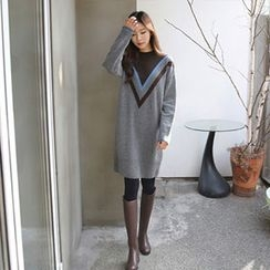 Hello sweety - Contrast-Trim Knit Dress
