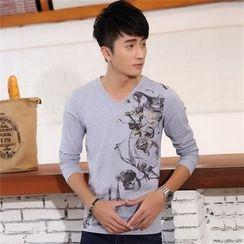 SOLER - Printed V-Neck Long-Sleeve T-Shirt