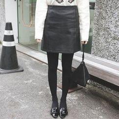mimi&didi - Faux-Leather A-Line Mini Skirt