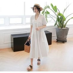 Miamasvin - Short-Sleeve Pattern Cotton Long Dress