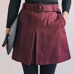 Seoul Fashion - Wool Blend Mini A-Line Skirt with Belt