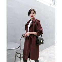 UPTOWNHOLIC - Double-Breasted Trench Coat With Belt