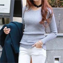 PEPER - Round-Neck Rib-Knit Top