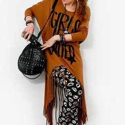 Dream Girl - Long-Sleeve Lettering Fringed Asymmetric T-Shirt