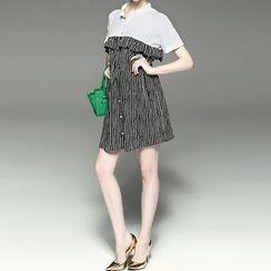 Alaroo - Pinstriped Panel Short-Sleeve Dress