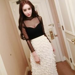Aurora - Set: Sheer Top + Tiered Midi Skirt
