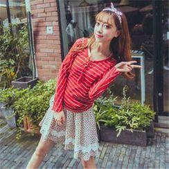 Kaven Dream - Set: Long-Sleeve Striped Knit Top + Floral Skirt