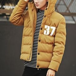 Bay Go Mall - Number Print Hooded Padded Jacket