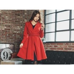 UUZONE - A-Line Belted Coat