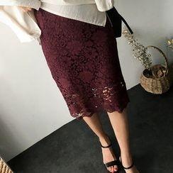 UPTOWNHOLIC - Zip-Back Laced Midi Skirt