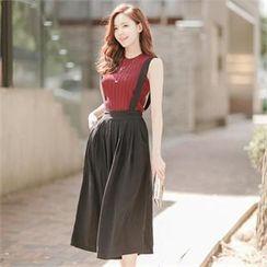 Attrangs - Chiffon Suspender Maxi Skirt