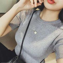 ANTEM - 純色短袖針織上衣