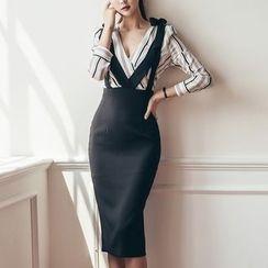 Aurora - Set: Striped Blouse + Jumper Skirt