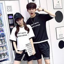 Azure - Couple Matching Lettering  T-Shirt / Shorts / Skirt