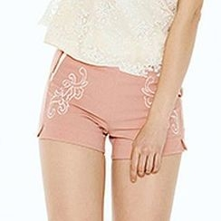 O.SA - Contrast-Trim Embroidered Shorts