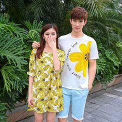 Azure - Couple Matching Print T-Shirt / Elbow-Sleeve Floral Dress