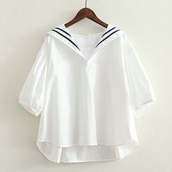 ninna nanna - Contrast Trim Sailor Collar Blouse