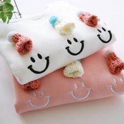Bonbon - Embroidered Fleece-lined Sweatshirt
