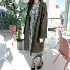 Hello sweety - Open-Front Long Cardigan