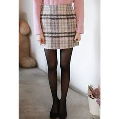 MyFiona - Zip-Side Checked Mini Skirt
