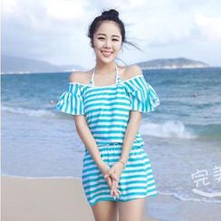 Rachel Swimwear - Set: Striped Bikini + Ruffled Dress