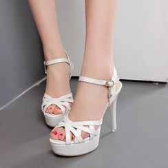 Monde - Lattice High Heel Platform Sandals