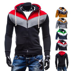 Free Shop - Color Block Hooded Zip Jacket