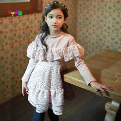 Cuckoo - Kids Lace Panel Pullover Dress