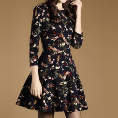 LunarS - Dragonfly Print 3/4 Sleeve Dress