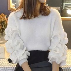 Queen Bee - Set: Frilled Sleeve Sweater + Faux Leather Skirt