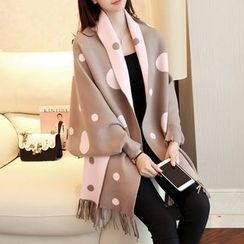 Ageha - Dotted Fringed Long Cardigan