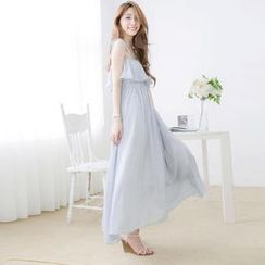 Tokyo Fashion - Tie-Shoulder Ruffled Pinstriped Maxi Dress