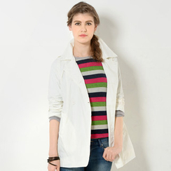 59 Seconds - Double-Breasted Belted Trench Coat