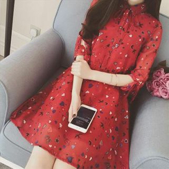 Sienne - Print 3/4-Sleeve Chiffon Dress