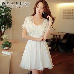 Dabuwawa - Flutter-Sleeve Lace-Trim Dress