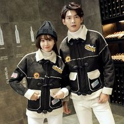 Je T'aime - Couple Matching Patch Embroidered Duffle Coat