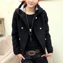 mokuchobi - Double-Breasted Hooded Jacket