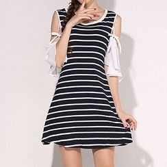 Isadora - Cut Out Shoulder Short Sleeve Striped Dress