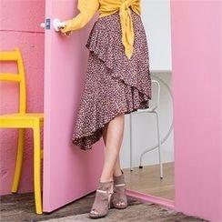Babi n Pumkin - Asymmetric-Hem Floral-Pattern Tiered Skirt