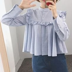 Fashion Street - Lace Trim Ruffle Long-Sleeve Top