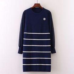 Tulander - Mesh Trim Striped Sweater Dress