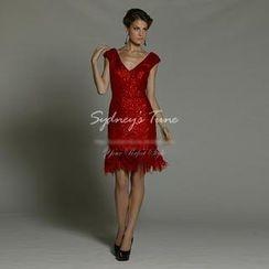 Sydney's Tune - Sleeveless Sequined Fringed Sheath Cocktail Dress