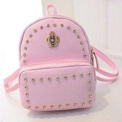 Youme - Faux-Leather Rhinestone Backpack