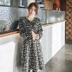 mimi&didi - Gathered-Waist Flower Pattern Dress