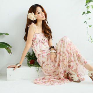 Tokyo Fashion - Sleeveless Floral Chiffon Maxi Dress