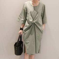 NANING9 - Knotted-Front Pocket-Side Midi Dress